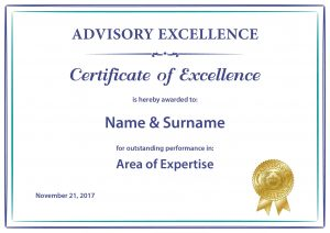 Advisory Excellence Printed Certificate of Excellence