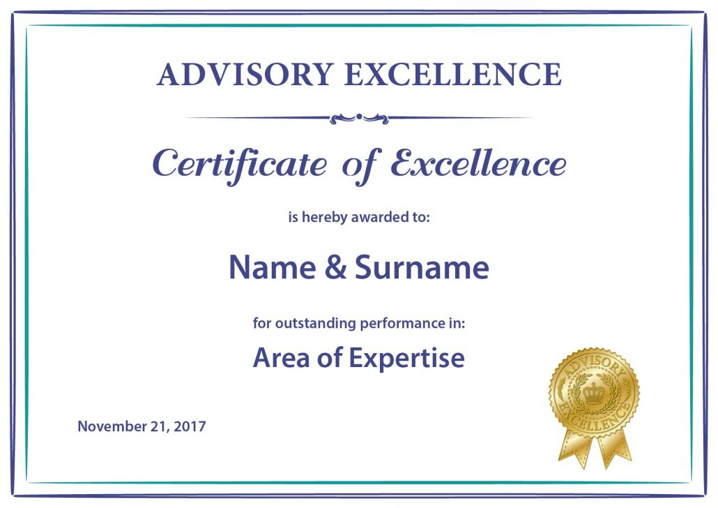 Printed Certificate Of Excellence Advisory Excellence