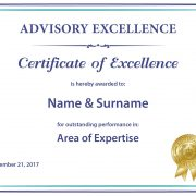 Advisory Excellence - Printed Certificate of Excellence Example