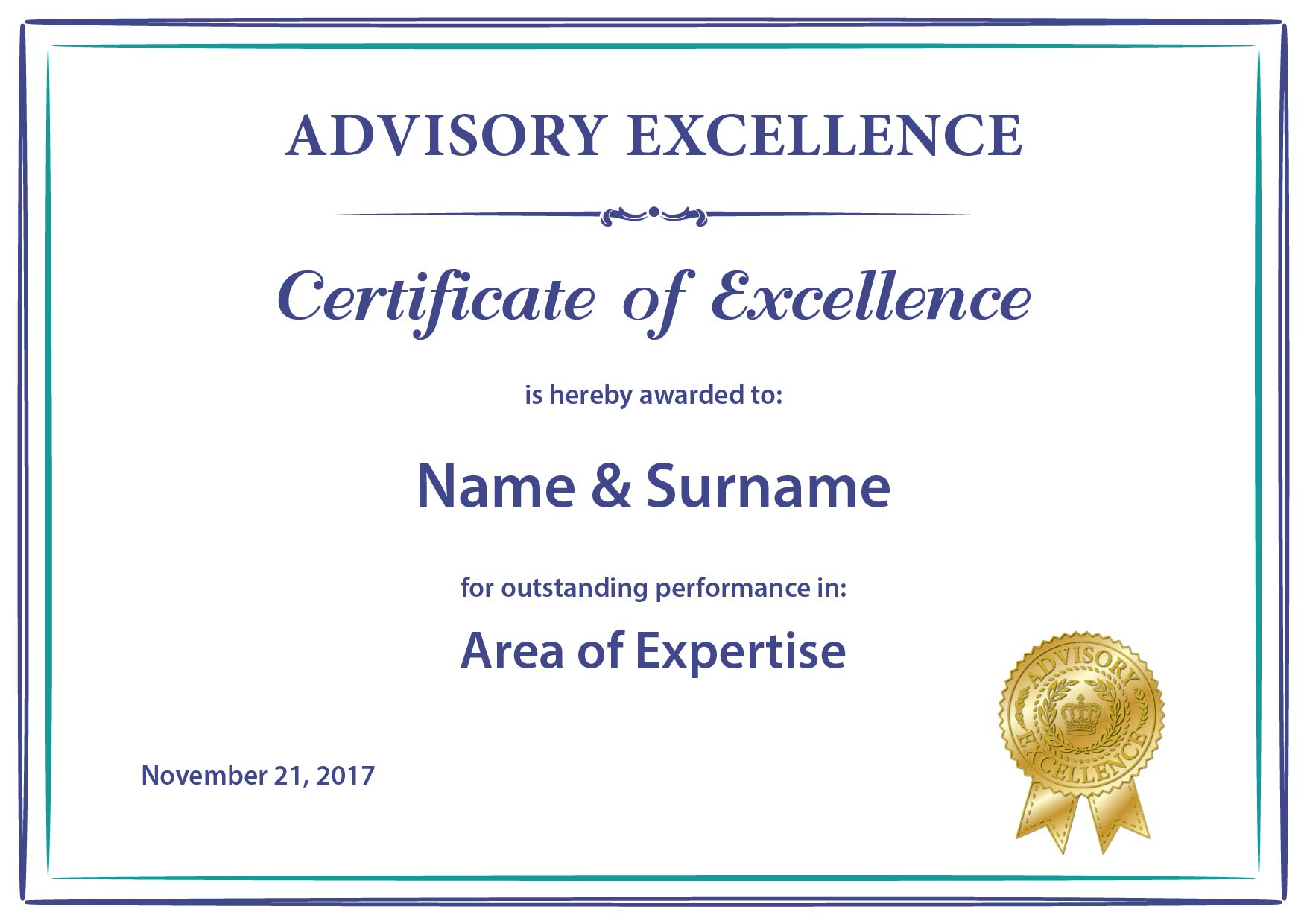 certificate excellence printed advisory example